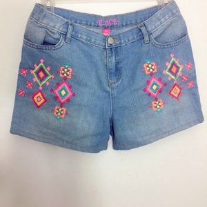 Colorful Embroidered Denim Shorts